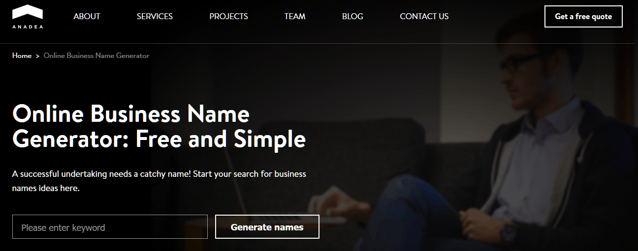 Business Name Generator - Free Business Name Ideas - Anadea