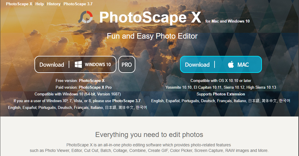 PhotoScape X - Free Photo Editor for Mac and Windows 10