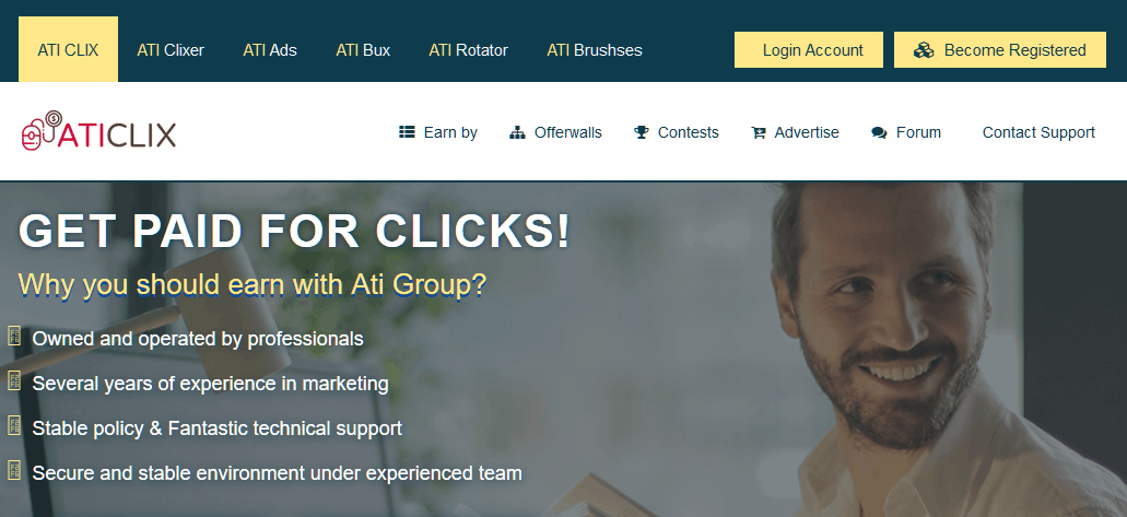 aticlix paid to click website